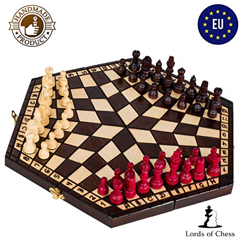 Amazinggirl Schachspiel 3 Personen Schach - 3er Chess Holz Schachbrettfür Kinder klappbar Antik