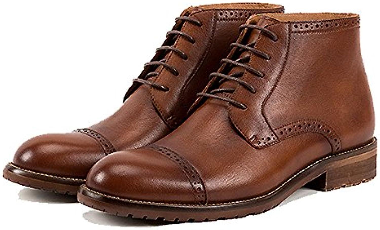 ZPEDY Botas De Hombre Spring Inglaterra Botas Martin Retro Medio Alto Zapatos De Hombre Brock Botas De Herramientas... -