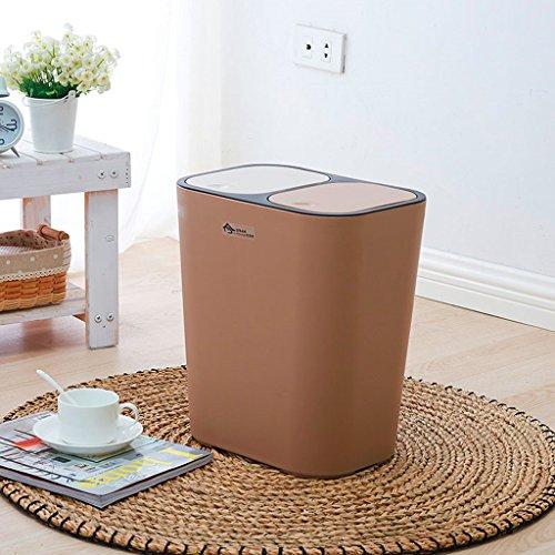 HZH Kreative Push-Typ Doppel-Deckel kann klassifiziert werden Große Mülleimer für Küche Wohnzimmer Haushalt rechteckigen Mülleimer ( Color : Coffee ) (Küche Schritt Papierkorb Kann 13 Gallone)