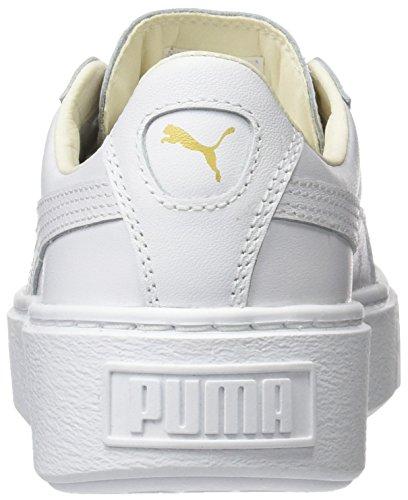 Puma Basket Platform Core, Scarpe da Ginnastica Basse Donna Bianco (White-gold)