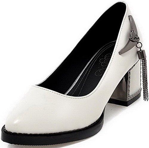 Talon Blanc Tire Couleur VogueZone009 à Pointu Pu Légeres Femme Unie Cuir Correct Chaussures wfFtqHFA