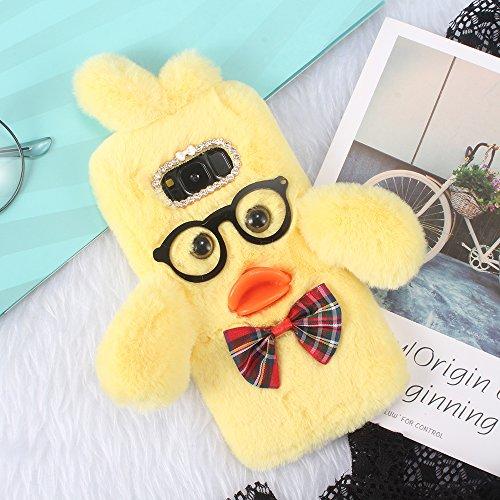 SevenPanda Huawei P9 Lite 2016 Ente Hülle, 3D Gläser Silikon M& Bowknot Luxus Bling Kristall Diamant Kaninchen Pelz Netter Case Warme Winter Handgemachte Schale Tasche - Gelb