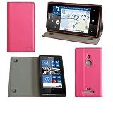 Etui luxe Nokia Lumia 925 rose Ultra Slim Cuir Style avec stand - Housse coque de...