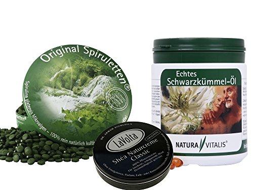 Flüssigkeit Spirulina (Natura Vitalis 1700 Spirulina (runde Dose) + 650 Schwarzkümmelöl Kap + Naturcreme Classic 8ml)
