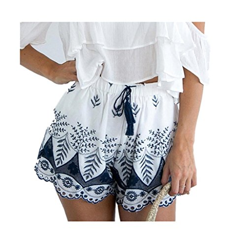 Frauen Shorts VENMO Frauen heiße Hosen Sommer Casual Shorts Hohe Taille Kurzer Strand (M, white) (Lange Fischnetz Neon Handschuhe)