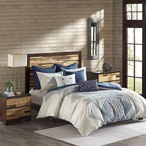 INK IVY Nova Bettbezug für King-Size-Bett/Cal King Size - elfenbeinfarben, Blau, geometrisches Bettwäsche-Set, 3-teilig - 100% Baumwolle, leicht, Bettdeckenbezug - Cal-king-size-bett Bettwäsche
