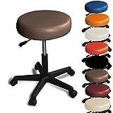 Promafit Rollhocker/Barhocker - mit Rollen - höhenverstellbar - viele Farben - 360° drehbar - Arbeitshocker - Praxishocker Braun
