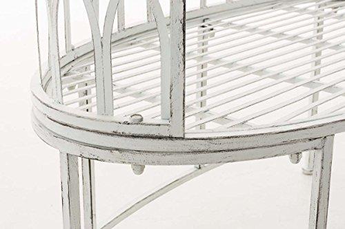 CLP Metall-Gartenbank AMANTI mit Armlehne, Landhaus-Stil, Eisen lackiert, Design antik nostalgisch, Form oval ca. 110 x 55 cm Antik Weiß - 7