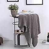 Manta de algodón tejida con borla para sofá, silla y cama; cubierta suave y cálida (130x 170cm)