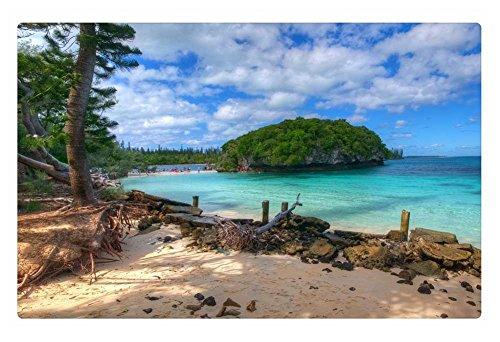 iRocket Fußmatte für den Innenbereich, Motiv: New Caledonia South Pacific Beach, 60 x 40 cm - Küche Kiefer, Küche Insel