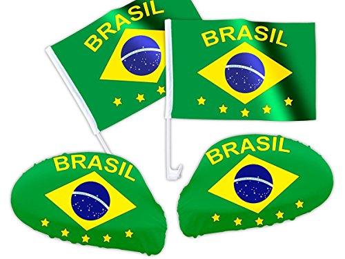 Alsino 4 tlg Brasilien WM Fanartikel Auto Fanset Fanpaket AutoflaggenSpiegelüberzug Autofahne