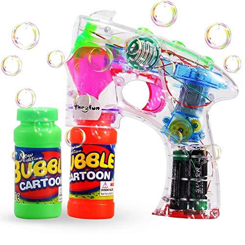 Theefun Seifenblasenpistole Soundeffekte Led Lichteffekte mit Batterien und Seifenlösung