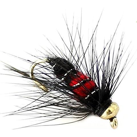 6x Pesca alla trota Oro Fiore, ninfe 33J X 6X nero e rosso gancio Taglia 12 - Pesca A Mosca Indicatori Sciopero