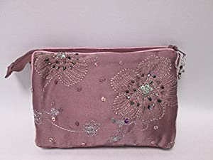 Ladies Purple Beaded Embroidered Tampon Sanitary Cosmetic Make Up Bag Purse