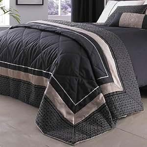 Luxury Geo Bedspread King Bed Quilted Luxury Bedspread Throw Black