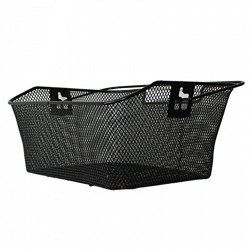 Jalano Fahrradkorb Hinten für den Gepäckträger in Schwarz, wetterfester Einkaufskorb mit stabilem Tragebügel 40 x 30 x 17 cm