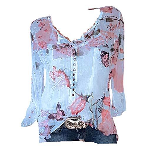 f7fa9837c01d5a JERFER Tee Shirt Femme Imprimé Floral Chemisier en Mousseline avec Ourlet  irrégulier