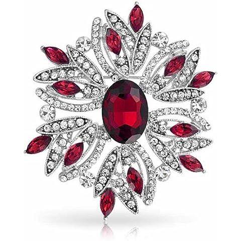 Bling Jewelry Vacacione Navidad Pin Broche Corona Cristal Color Rojo Granate