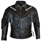 MDM Fransen Lederjacke Rindleder/Nubukleder Motorradlederjacke Chopperjacke Western (L)