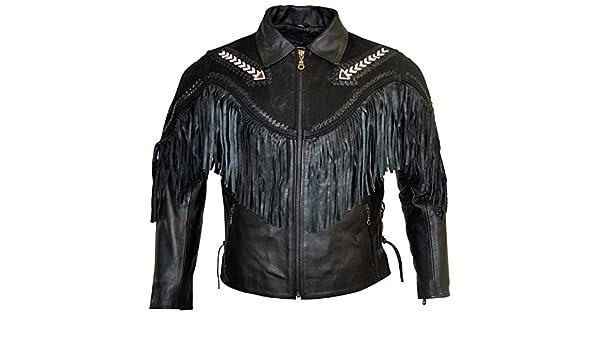 cuir veste en cuir frangée   veste en cuir nubuck moto veste en cuir de  Chopper Western  Amazon.fr  Vêtements et accessoires 89292c8ace73