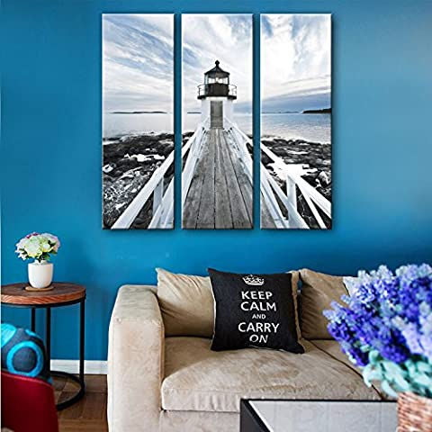 Xiuxiandianju 3PCS Coastal Lighthouse Triple Decoration Painting Wuku Picture Painting