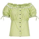 Gaudi-Leathers Carmenbluse grün weiß kariert Größe 42