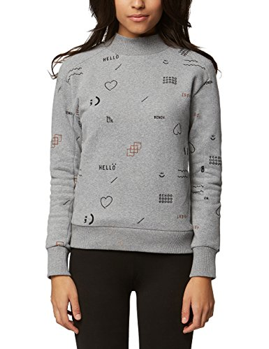 Bench Damen Sweatshirt Velvet Embroidery Jumper, Grau (Winter Grey Marl Ma1054), Small