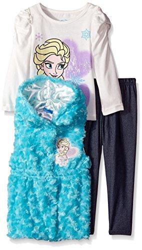 Disney Little Girls' Toddler 3 Piece Elsa Vest and Legging Set, Blue, 2T Disney
