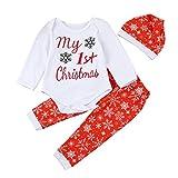 Babyklamotten Hirolan 3 Stück Weihnachten Kinderkleidung Outfits Neugeboren Säugling Anziehsachen Junge Mädchen Beschriftung Spielanzug Tops + Hosen + Hut Unisex Baby jacke Sets (80cm, Rot)