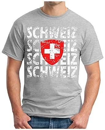 OM3 – SCHWEIZ – T-Shirt SWITZERLAND EM 2016 FRANKREICH FRANCE FUSSBALL FANSHIRT SOCCER CUP SPORT TRIKOT EUROPAMEISTER, S – 5XL