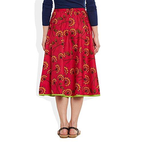 Damen Bekleidung Baumwolle gedruckt mittellanger Rock a-Linie Rot