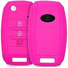 kwmobile Funda de silicona para llave de 3-4 botones para coche Kia - cover de llave - key case en rosa fucsia
