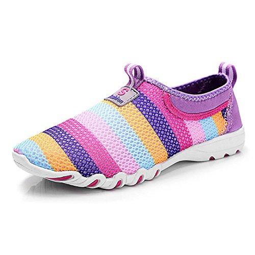 Gaatpot Damen Sportschuhe Atmungsaktives Mesh Slip On Laufschuhe Wanderschuhe Outdoor Casual Sneakers 36-44 (Gummi-gurtband-polsterung)