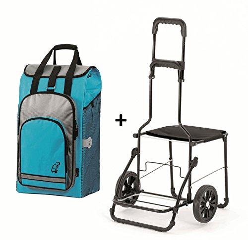 Andersen Komfort Shopper mit Stuhl – Einkaufstrolley Türkis - 2