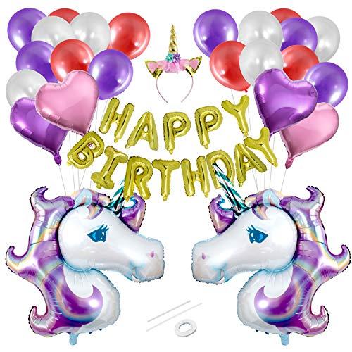 ZOEON Suministros de Decoraciones de Fiesta de Unicornio, Globos de Happy Birthday con Globos de Corazon, Globos de Estrella, Enorme Globo de Unicornio y Diadema de Unicornio
