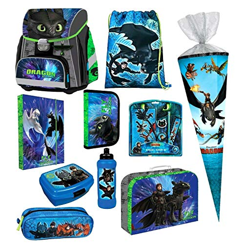 Dragons Drachen 14 Teile Schulranzen Set RANZEN FEDERMAPPE Tornister Tasche Schultüte 85 cm inklusive Sticker von Kids4shop