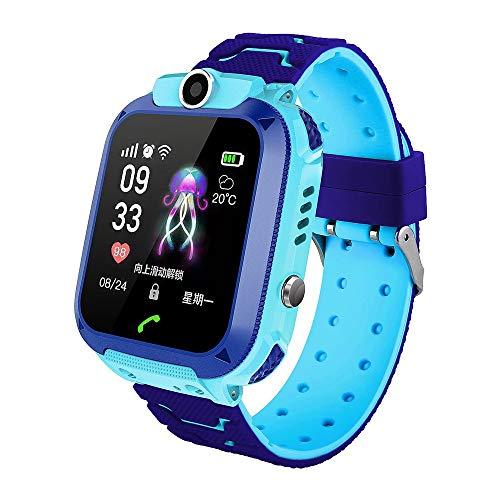 Kinder Smartwatch Wasserdicht, GPS Tracker Telefon Sehen Zum Kinder Mit SOS Anruf Taschenlampe Kamera Berührungsempfindlicher Bildschirm Kompatibel Zum IOS Und Android (Farbe : Blau)
