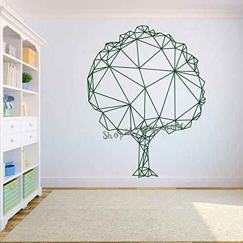 JXweilele Árbol Abstracto polígono etiqueta de la pared arte geométrico decoración de la pared pegatina hogar diseño de interiores oficina Mural decoración del hogar 57X73 cm