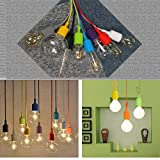 GreenSun 8 Farbe E27 Silikon Edison Pendelleuchte Hängeleuchte Lampenaufhängung DIY Lampe Lampenhalter Lampensockel 100cm Cord für Zuhause in Küche Esszimmer Wohnzimmer Kinderzimmer Bar Restaurant