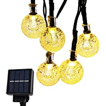 Cmyk® LED solar guirnalda de luces Navidad exterior parranda fiesta jardín 6M 30er Blanco Cálido