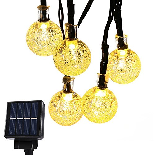 CMYK ® Solar Operated 30 LED String Light with Crystal Ball Covers, Ambiance Lighting, Great for Outdoor Use in Patio, Pathway, Garden, Indoor Use in Party, Bedroom Decor (Warm White)