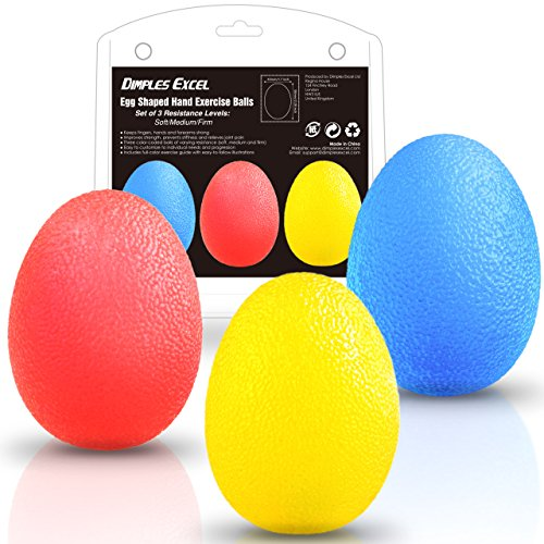 Dimples Excel Squeeze Stress Balls for Hand, Finger and Grip Strengthening-Set of 3 Resistance (Soft Yellow + Medium Red + Firm Blue) -