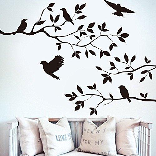 BIBITIME Schwarz Baum AST Aufkleber 5Vögel Art Wand Aufkleber Vinyl Zitate Crow Wandtattoo Wandbild für Home Dekoration DIY 60cm 44cm (Black Crow Dekorationen)