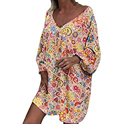OPALLEY Grande Taille Robe de Femme Hors Épaule Imprimé Floral Manche Longue Irrégulier Décontractée Robe Casual Col en V Été Confortable Robe de Plage Rétro Sexy Mini Robe