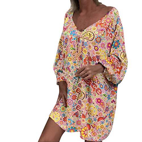 Subfamily Kleider für Damen Große Größen Bedruckte Freizeitkleider V-Ausschnitt Langarm Einteiler Kleid Kurz Locker (Orange,L)