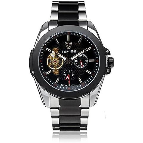 Chronos Tevise 24h pantalla volante hombres de acero inoxidable reloj mecánico