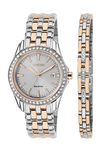 Citizen Watch Silhouette Crystal Women's Quartz Watch with White Dial Analogue Display and Two Tone Stainless Steel Gold Plated Bracelet EW1909-64A