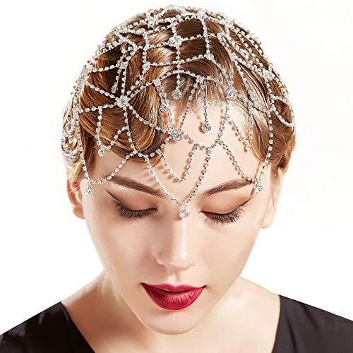 Coucoland 1920s Stirnband Damen Perlen Haar Kette Gatsby Kostüm Fasching Accessoires 20er Jahre Flapper Blinkendes Haarband (Silber-Stil 3)