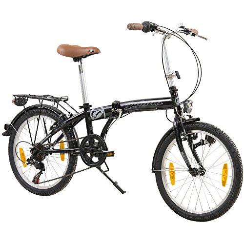 Galano 20 Zoll Parklane LE Camping Klapp Fahrrad 6 Gang Shimano Licht Klapprad Faltrad, Farbe:Schwarz
