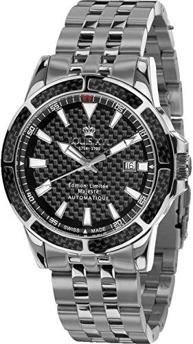 LOUIS XVI Herren-Armbanduhr Majesté Stahlband Silber Schwarz Karbon Automatik Analog Edelstahl 629